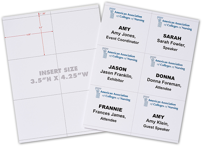 6 up laser paper for printing name badges