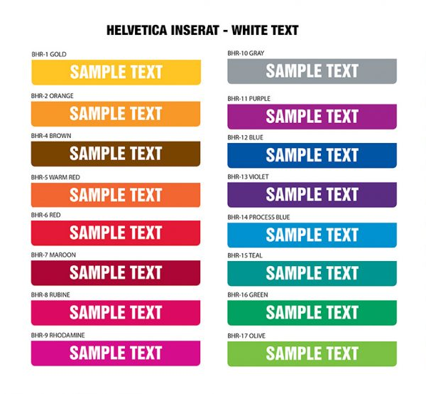 AVAILABLE IMPRINT COLORS