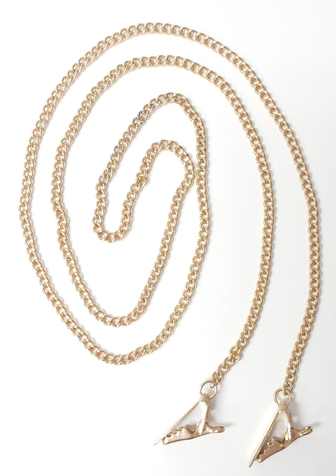 GOLD CHAIN-DOUBLE CLIPS