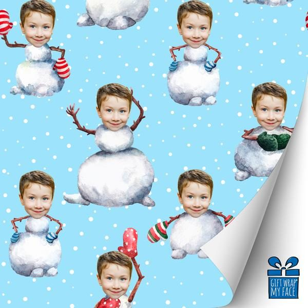 Snowman with boy's head wrapping paper