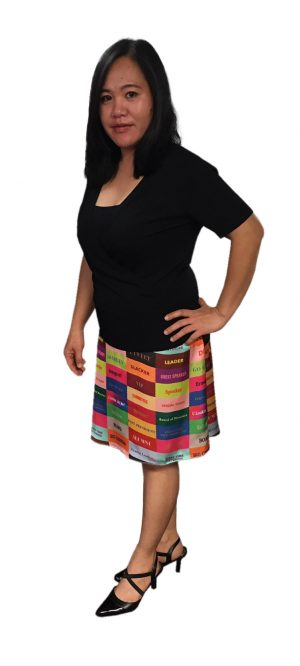 Woman Wearing Ribbon Print Skirt