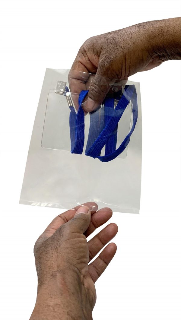 Hand Removing Lanyard-Badge Holder Combo from Bag