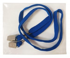 Blue Double Clip Lanyard in Bag