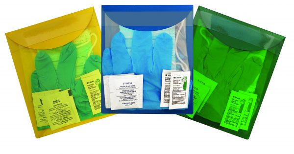 KLEEN Pak in a Yellow, Blue, and Green Pouch