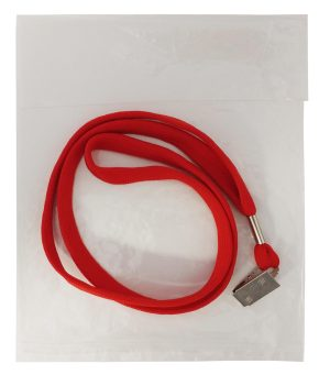 Red Lanyard with Metal Clip in Plastic Bag
