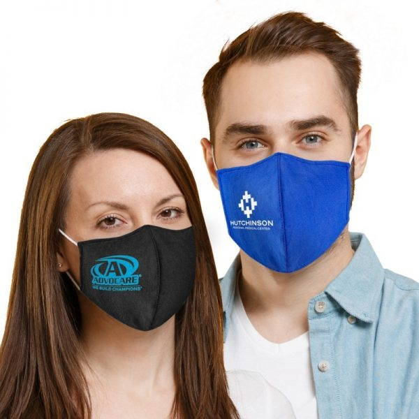 Man and Woman Wearing Custom Print Fitted Mask
