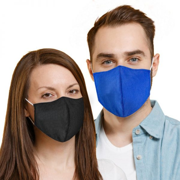 Man and Woman Wearing Fitted Cotton Mask